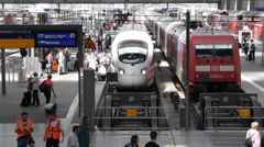 Mass Public Transportation Munich Railway Station Intercity Express Trains Crowd Stock Footage