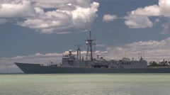United States ship Rodney M. Davis (FFG 60) RIMPAC ship depart for sea phase Stock Footage