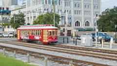 New Orleans Riverfront Streetcar in French Quarter Stock Footage