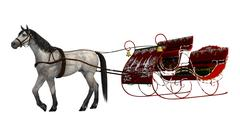 christmas sleigh - stock illustration