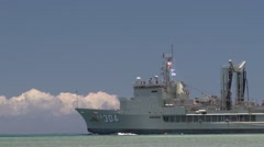 Her Majesty's Australian Ship Success (AOR-304) departs for sea phase of RIMPAC Stock Footage