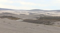 Desert Red Desert Spring Wetland Water Sand Dunes Zoom Out Stock Footage