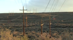 Land Use Red Desert Spring Powerplant Coal Energy Powerlines Transmission Line - stock footage