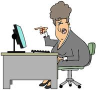 Irate woman sitting at a desk Stock Illustration