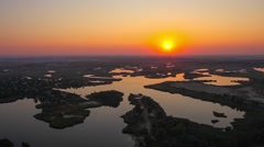Sunrise over the lake and islands. Aerial shot. Ukraine, Dnipropetrovsk region. Stock Footage