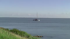 Light house The Ven on the dike of Enkhuizen - stock footage