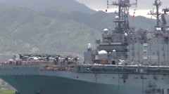 USS Peleliu (LHA-5) RIMPAC ship depart for sea phase Stock Footage