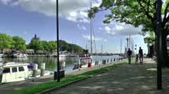 Yachts in the historic harbour of Enkhuizen Stock Footage