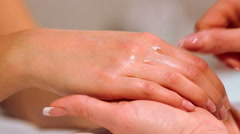 Procedure hands massage in the spa salon.Hand Care in the beauty salon Stock Footage
