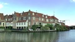 The oldest and most beautiful part of the historic harbour of Enkhuizen Stock Footage
