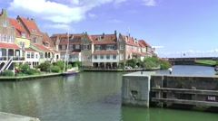 The oldest and most beautiful part of the historic harbour of Enkhuizen - stock footage