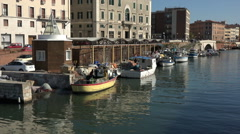 Livorno Italy water front traffic marina HD 062 Stock Footage