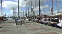Charter ships on a quay in the harbour of Enkhuizen Stock Footage