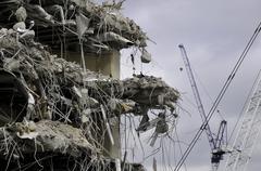 demolition and cranes - stock photo