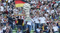 Man Waving Germany Flag World Cup Plenty Audience German People Supporters Fans Stock Footage