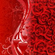 background of roses and hearts - stock illustration