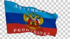 Flag animation white alpha-Lugansk People's Republic Stock Footage