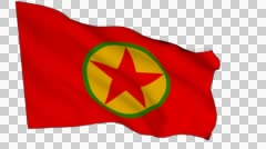 Flag animation white alpha-Kurdistan Workers' Party (PKK) - stock footage