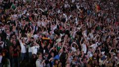Fans Reaction Cheering Goal Crowd People Football Soccer Stadium World Cup Final - stock footage