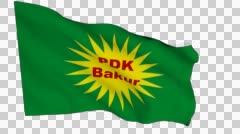Flag animation white alpha-Kurdistan Democratic Party North - stock footage