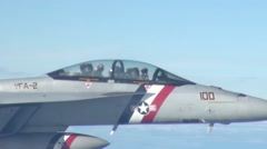 F/A-18 Hornet fighter jets air refueling by Royal Canadian Air Force - stock footage
