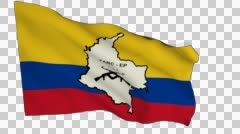 Flag animation white alpha-Revolutionary Armed Forces of Colombia Stock Footage