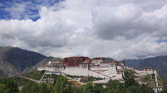Time Lapse of the white clouds flying over Potala Palace in Lhasa, Tibet Stock Footage