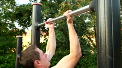 Young athlete working out in park Stock Footage