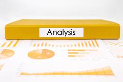 Analysis documents, graphs, charts and business report Stock Photos