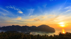Time lapse of travel vacation view point background with sunset Stock Footage