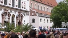 Tourists Attraction Establishing Shot Munich Shopping Street People Walking Day Stock Footage