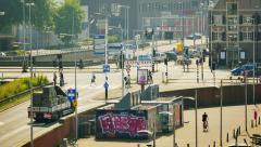 Crossroad, urban city scenery of Amsterdam Stock Footage