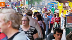 Crowded busy street in downtown Amsterdam - stock footage