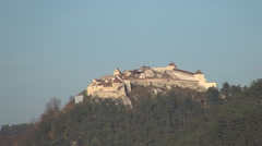 Castle, medieval fortress, well preserved, built on a hill top. Stock Footage