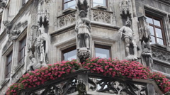 Decorative Red Flowers Close Up Front Facade Main Entrance Munich New Town Hall Stock Footage