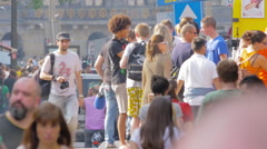 Crowded street in the central area of Amsterdam Stock Footage