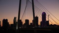 Dallas Skyline silhouette with orange sky Stock Footage