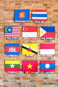 Association of southeast asian nations flags Stock Photos