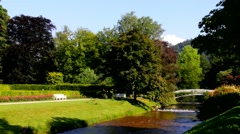 River Oos In Baden-Baden. Germany Stock Footage