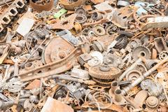 scrap iron unused, rubble, remnant of iron - stock photo