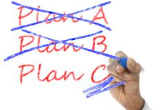 Stock Illustration of plan a and b crossed, plan c take over