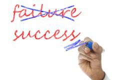 Hand crossing out failure and writing success on transparent wipe board Stock Illustration