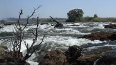 Victoria Falls Zambia Africa Zambezi River Stock Footage