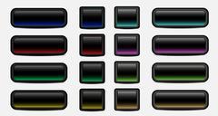 blank dark buttons - stock illustration