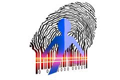 paperman coming out of a bar code to go out - stock illustration