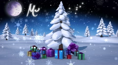 Merry Christmas message appearing in snowy landscape - stock footage