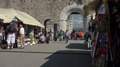 Pisa Italy city market shops Leaning Tower HD Stock Footage