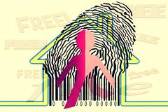 paperman coming out of a bar code with home symbol - stock illustration