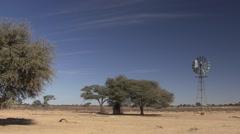 Land Use Kgadagali Transfrontier Park Winter Windmill Desert Water Stock Footage