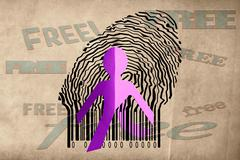 paperman coming out of a bar code with free word - stock illustration